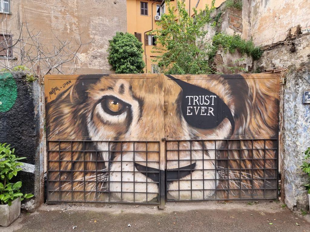 Street art - Leone di Maupal a Trastevere